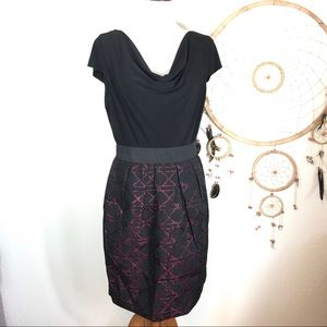 Taylor Bodice Black & Aubergine Dress